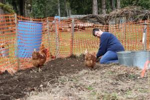 Cari gets help in the garden