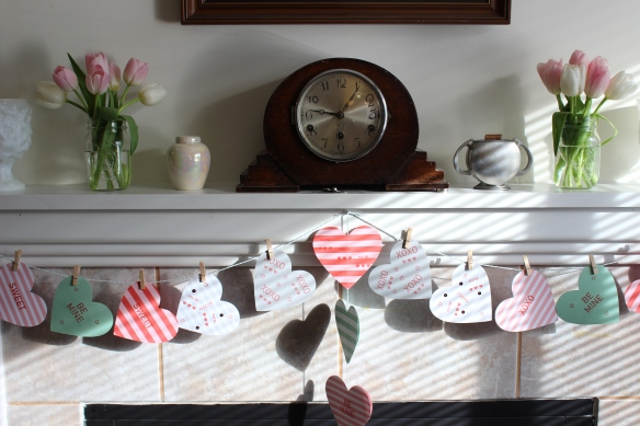 Even though it is March, I kept the Valentine hearts up because I thought they looked pretty with the flowers.